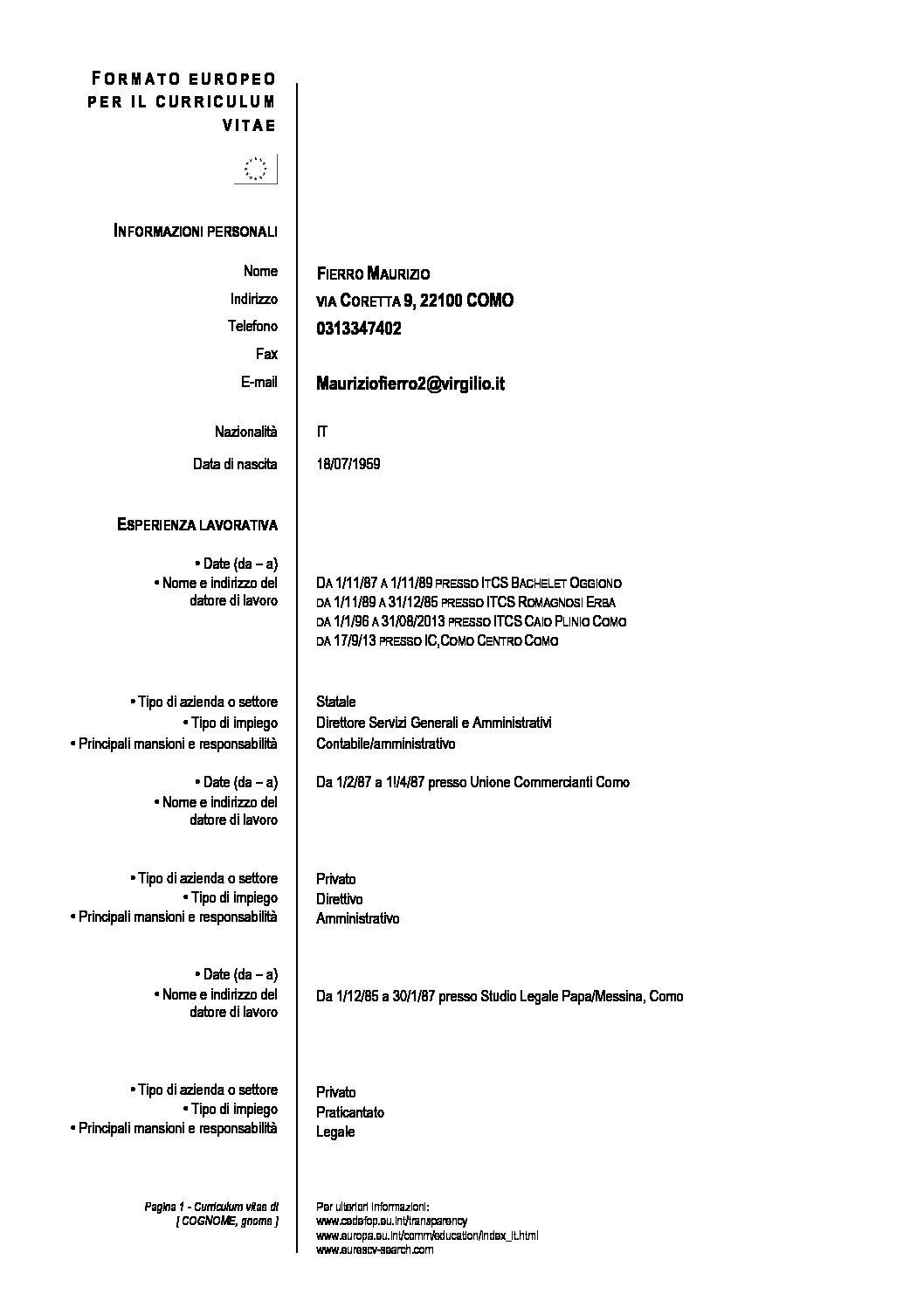 Cv Formato Europeo Fierro Istituto Comprensivo Como Centro Citta